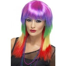 Ladies Rainbow Rocker Wig Wigs - (Multicolour)