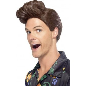Mens Nineties Detective Wig Wigs - (Brown)