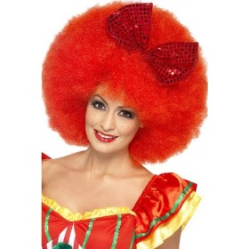 Adult Unisex Mega Afro Clown Wig Wigs - (Red)