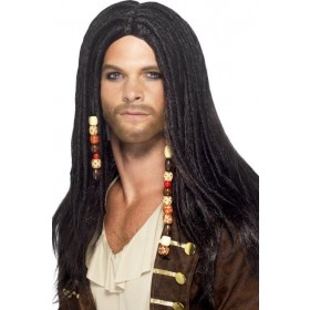 Mens Pirate Wig Wigs - (Black)