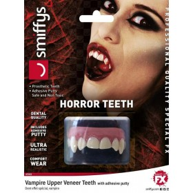 Adults Dental Quality Horror Teeth, Vampire, with Upper Veneer Teeth Halloween Fancy Dress Accessory