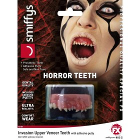 Adults Dental Quality Horror Teeth, Invasion, with Upper Veneer Teeth Halloween Fancy Dress Accessory