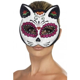 Ladies Sugar Skull Cat Eyemask Halloween Accessory