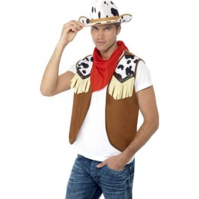 Mens Instant Kit Wild West Male Cowboys/Indians Outfit - One Size (Red)