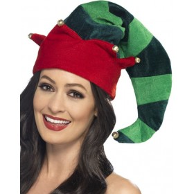 Adults Plush Elf Hat Christmas Fancy Dress Accessory