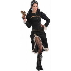 Ladies Black Steanpunk Renegade Fancy Dress Costume