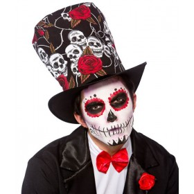 Adults Day Of The Dead Top Hat Halloween Fancy Dress Accessory