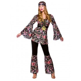 Ladies 60'S Peace Lovin Hippie Fancy Dress Costume