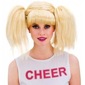 Ladies Blonde Cheerleader Wig Fancy Dress Accessory