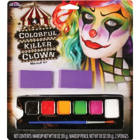 Colourful Killer Clown Halloween Makeup Kit.