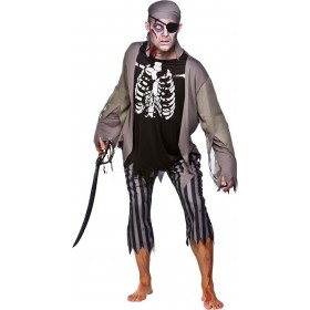 Mens Zombie Skeleton Pirate Pirates Outfit (Grey,Black)