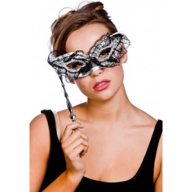 Adult Unisex Eyemask With Handle - Lace/Black/ Silver Eyemasks - (Black, Silver)