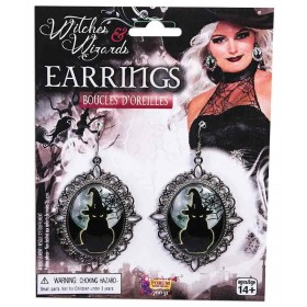 Witches Cameo Earrings Fancy Dress Halloween Accessory