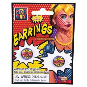 "Pop Art ""Pow"" Earrings Fancy Dress Accessory"