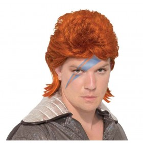 70s Rock Legend Wig (Orange) Fancy Dress Accessory