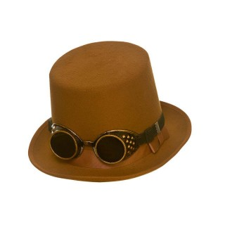 Steampunk Hat with Goggles - Brown Hats