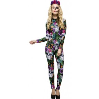 Ladies Multicolour Fever Day Of The Dead Halloween Catsuit Fancy Dress Costume