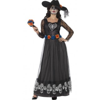 Ladies Black Day of the Dead Skeleton Bride Halloween Fancy Dress Costume