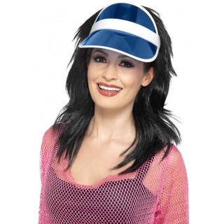 Adult's Blue 80's/Sun/Tennis/Poker Visor Fancy Dress Accessory