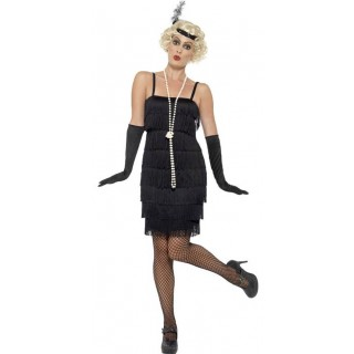 Ladies Short Black Flapper Fancy Dress Costume