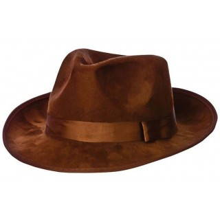 Adult Brown Suede Fedora Fancy Dress Accessory