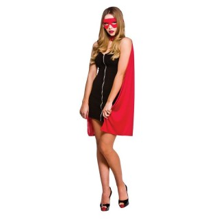 Ladies Super Hero Cape Long - (Red)