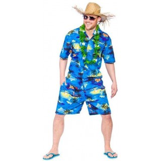 Men'S Hawaiian Shirt & Shorts Blue Palm Print Fancy Dress Costume
