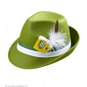 Green Oktoberfest Bavarian Felt Fedora W/Feather & Beer Mug Dec