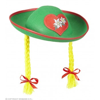 Ladies Green Felt Tyrolean Hat With Plaits Fancy Dress Accessory
