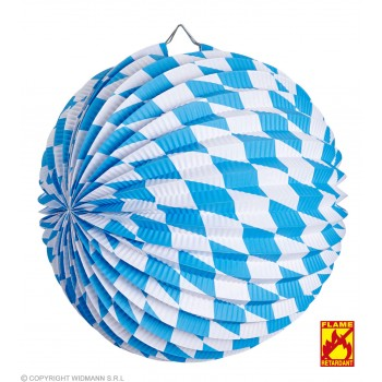 Blue & White Bavarian Paper Ball 25cm Fancy Dress Decoration