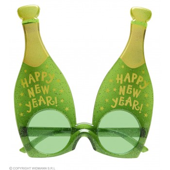 Adults Green Champagne New Year Bottle Glasses