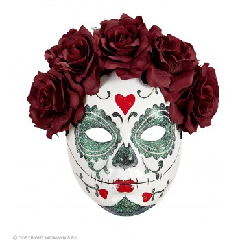 Ladies Glitter Day Of The Dead Half Face Mask With Roses Halloween Fancy Dress Accessory