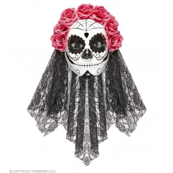 Ladies Black/White Day Of The Dead Bride Mask & Veil Halloween Fancy Dress Accessory