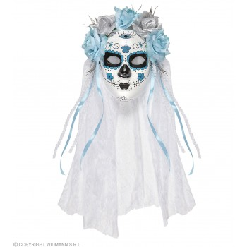Ladies Blue/White Day Of The Dead Bride Mask & Veil Halloween Fancy Dress Accessory