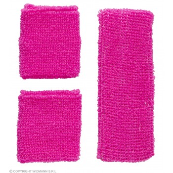 Sweatband Set Neon Pink 80's Fancy Dress Accessory