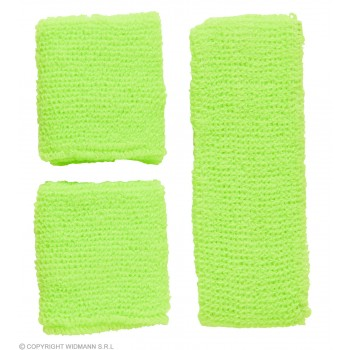 Sweatband Set Neon Green 80's Fancy Dress Accessory