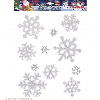11 Iridescent Snowflakes Window Stickers Fancy Dress (Christmas)