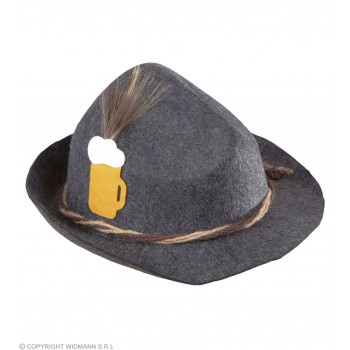 Mens Bavarian Hat Deluxe Felt Hats - (Grey)