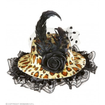 Ladies Leopard Mini Hat W/ Rose Tulle & Feather Hats - (Animal Print)