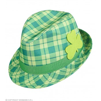 Adult Green Checkered St Patrick Fedora Hat Fancy Dress Accessory