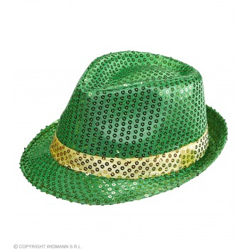 Adult St Patrick Sequin Fedora With Gold Band Fancy Dress Accessory