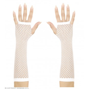 Fingerless Fishnet Gloves White 33Cm - Fancy Dress