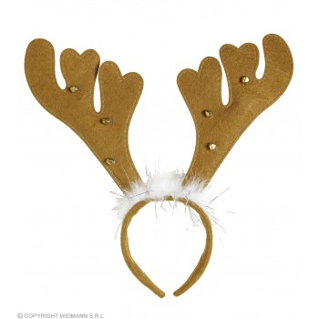 Festive Reindeer Horns With Bells & Marabou Party Headband
