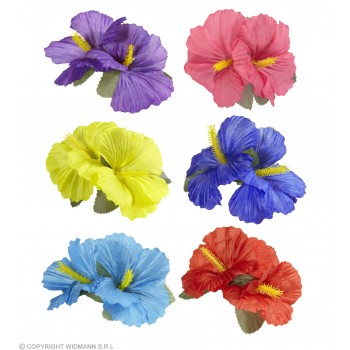 Ladies Single Hibiscus Flower Hair Clips 6 Assorted Colours - (Single Clip Supplied)