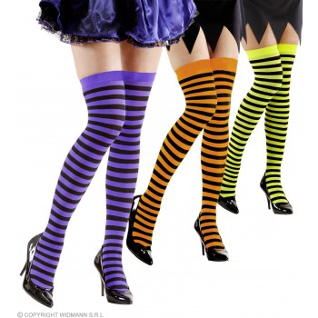 Ladies Neon Striped Over The Knee Socks - 3 Cols Ass Tights - Size 10-12