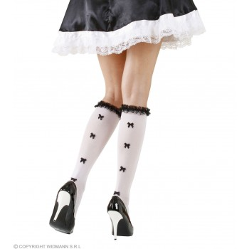 Ladies White French Maid Style Socks With Ruffle Lace Trim & Black Bows