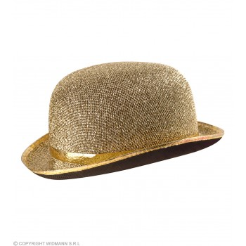 Felt Bowler Gold Lame - Fancy Dress