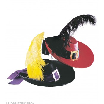 Musketeer Hat Felt W/Feather - Fancy Dress (Musketeers)