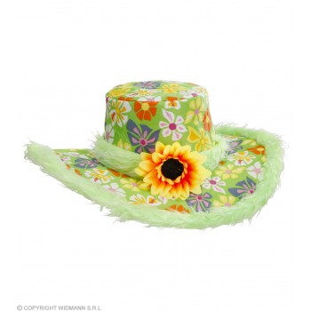 Ibiza Hat W/ Plush Trim & Sunflower, Green, Fancy Dress