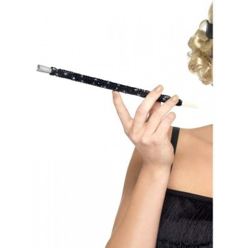 Black Sequinned Cigarette Holder - Fancy Dress Ladies (1920S)